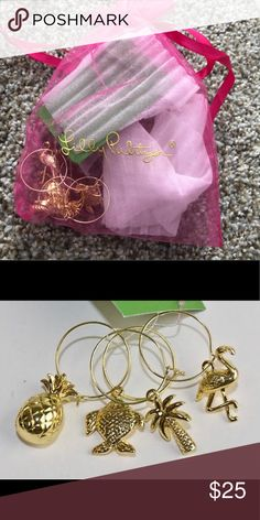 87784ae3845dc4 Lilly Pulitzer wine glass charms Simply darling and the perfect addition to  all your ladies nights. GWP and never used (or taken out of the bag.