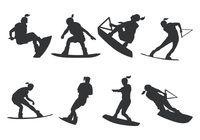Women Wakeboarding Silhouette