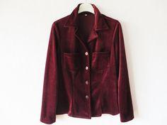 Vintage 80s Marsala Velvet Blouse Crimson Red by VintageDreamBox