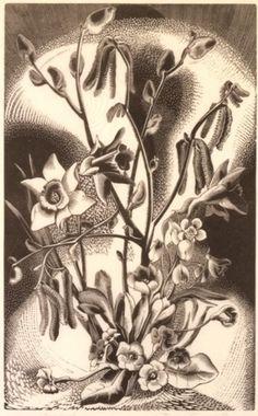 Gertrud Hermes - Spring Bouquet 1929, woodcut