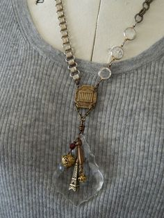 Paris Assemblage Necklace Upcycle Chandelier Glass by 58Diamond