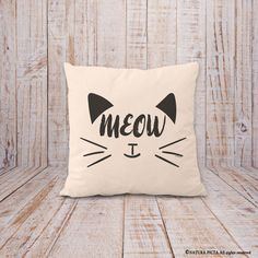 Cat pillow cover-meow pillow-gift for cat lovers-cat decor-home decor-decorative pillow-Christmas gift-black cat pillow-NATURA PICTA-NPCP068 by naturapicta on Etsy https://www.etsy.com/uk/listing/484437215/cat-pillow-cover-meow-pillow-gift-for
