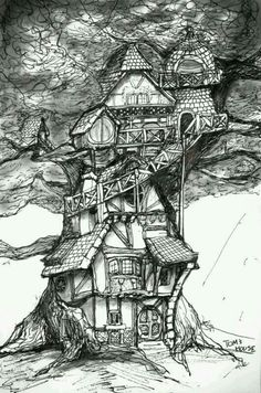 Fairy Tree House observatory inspiration New Prints Up! House Colouring Pages, Adult Coloring Pages, Doodle Art, Painting & Drawing, Line Art, Fantasy Art, Concept Art, Art Drawings, Illustration Art