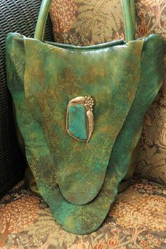 Turquoise Tote: Bolo Trading Handbags - Handmade leather bag with a vintage bolo
