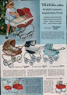 Old doll pram toy ad. Vintage ad