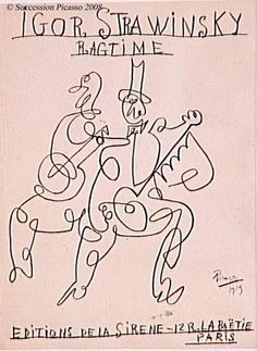 """Projet pour la couverture de la partition de """"Ragtime"""" d'Igor Stravinsky : violoniste et joueur de banjo. 1919. Tracé en un seul trait."""