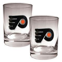 Great American Products Philadelphia Flyers 2pc Rocks Glass Set