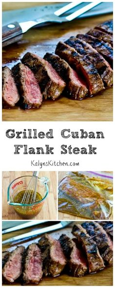 This Grilled Cuban Flank Steak will be a hit with all the beef lovers; perfect for every summer holiday party when you want something special to serve on the grill. This recipe is Low-Carb, Gluten-Free, and Paleo, and it's delicious. [from KalynsKitchen. Cuban Recipes, Meat Recipes, Paleo Recipes, Cooking Recipes, Flank Steak Recipes, Marinated Flank Steak, Cuban Steak Marinade Recipe, Beef Flank Steak, Comida India