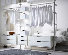 Open Wardrobe In Bedroom Creative Open Bedroom Wardrobe Storage With Hangers For Clothes Open Closet Ideas For Small Spaces Ikea Bedroom, Closet Bedroom, White Bedroom, Bedroom Furniture, Closet Space, Ikea Closet, Ikea Wardrobe, Bedroom Sets, Closet Storage
