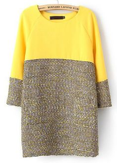 Yellow Long Sleeve Contrast Grey Straight Dress US$33.93 love this for a transition to spring!
