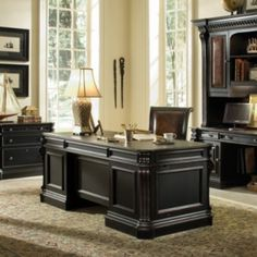 Bromley Executive Desk - black w/ red brown rub through
