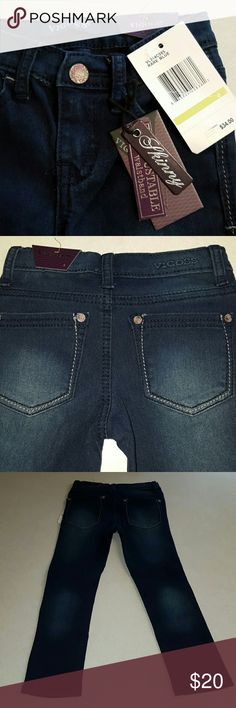 NWT Girl's Vigoss Jeans Size 4 So cute!  Little girl's Vigoss skinny jeans.  Brand new with tags.  Have pink flowers on the silver buttons on front and back of jeans. Vigoss Bottoms Jeans