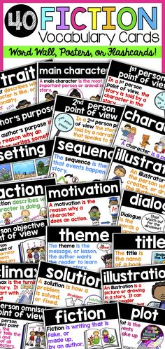 Support your fiction readers with a beautiful, visual fiction reading word wall, posters, or flashcards! 40 terms are included with 3 different colored printing options! The fiction vocabulary cards have student friendly definitions along with supporting visuals and examples!