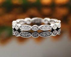 Art Deco Antique Style Diamond Milgrain 14K White Gold Full
