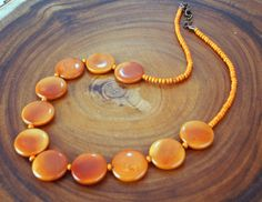 LaborDay35% Amber Tagua Necklace, Organic Jewelry, Fall Necklace, Handmade…