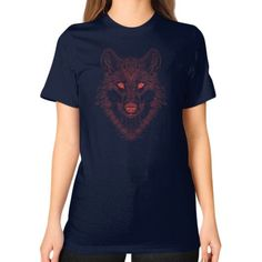 Gaze of the Wolf (Red) Unisex T-Shirt (on woman)
