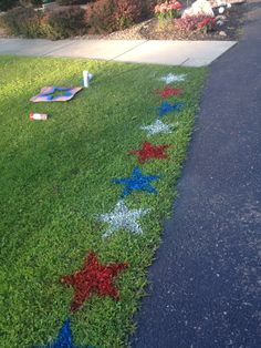 Going Away to Boot Camp party - cut out a star shape and spray paint red, white, and blue stars on the lawn!