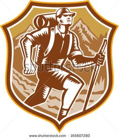 Illustration of a male hiker hiking walking holding staff with river and mountains in background set inside shield crest done in retro woodcut style. - stock vector #hiker #woodcut #illustration