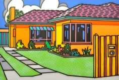A 1950's suburban Australian brick home is depicted in a Pop Art style.