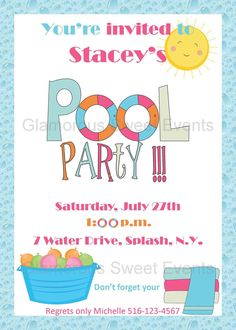 Tweens Pool Party Invitation  Pool Parties Pool Party
