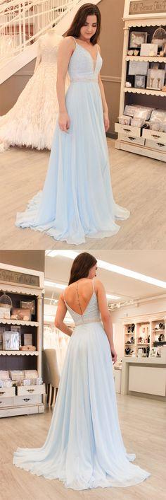 Gorgeous Straps Light Sky Blue Chiffon A Line Long Prom Dress #lightblue #chiffon #long #aline #prom #okdresses