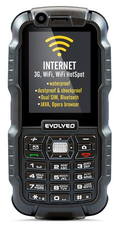EVOLVEO StrongPhone WiFi, waterproof rugged Dual SIM phone]