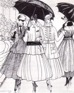 La Gazette du Bon Ton, 1915, showing (left to right) tailored suits by Paquin, Lanvin, and Doeuillet and a coat by Paquin.