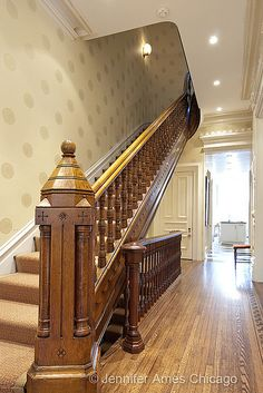 we could totally do something really cool with stairs. Brownstone Interiors, Victorian Interiors, Victorian Decor, Victorian Homes, Victorian Stairs, Victorian Era, Chicago Brownstone, Stair Newel Post, Stair Railing