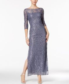 Alex Evenings Petite Lace Illusion Gown