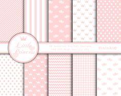 Baby Pink Digital Paper - Baby Girl Scrapbooking Paper - Invitation Paper - Baby Pink, Pastel Pink, Light Pink, Pink Polka Dot, Pink Gingham