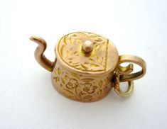 Rose Gold Engraved Teapot Charm