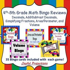 Each+of+the+5+Bingo+Games+has+35+included+Bingo+cards.+Show+the+slides+and+students+will+read+identify+or+add+or+subtract+decimals,+simplify+fractions,+and+determine+area,+perimeter,+and+volume.+Then+they'll+cover+the+correct+answer+on+their+own+Bingo+Card.