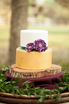 Rustic gold wedding cake
