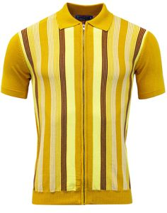 Madcap England Mens Capital Polo in Gold. Retro mod polo cardigan with striped front and full zip fasten. Mens mod clothing at Madcap England. Urban Fashion, Retro Fashion, Men's Fashion, Rockabilly Fashion, Classic Fashion, Fashion Black, Classic Style, Fashion Women, Fashion Ideas
