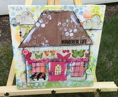 Wonderful Life Cottage Mixed Media Canvas Painting Collage. Little Collaged Village House with Butterflies, Green, Pink, Rub Ons, Paint by GlimmerbugArt on Etsy