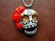 Red Hair Flower Dia De Los Muertos Clay Sugar Skull Shimmer Skull Necklace Day…