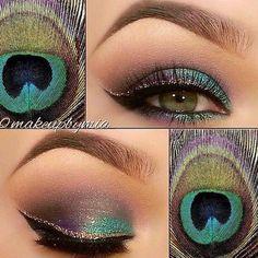 Peacock feather makeup
