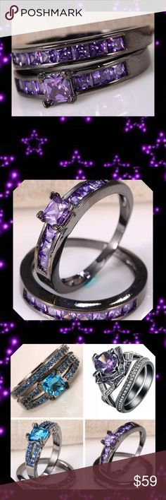 JUST INSz 12 2pc Black Gold Filled Ring Set 100% New and High Quality Material: 925 Silverand Black Gold Filled Main Stone: Purple Topaz Amethyst Ring Size: 12 Ring Box: Yes Package includes: 1 Ring (2pcs/set)   ⭐️⭐️SORRY NO TRADES AND LOWBALL OFFERS WILL BE IGNORED ⭐️⭐️  ✂️LOWBALL OFFERS WILL BE IGNORED✂️ Glam Squad 2 You Jewelry Rings