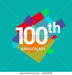 100th years anniversary logo, vector design isolated on colorful geometric background, for birthday celebration.