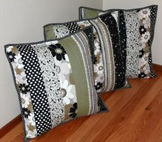 A Quilted Trio : Once upon a time, mom, daughter dear , and I happened upon a stash sale , the looks of which none of us had seen before! Cushion Cover Pattern, Cushion Covers, Pillow Covers, Patchwork Cushion, Quilted Pillow, Sewing Crafts, Sewing Projects, Sewing Pillows, Pillow Forms