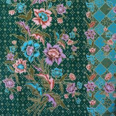 green and flowers pure cotton traditional by TheThailand on Etsy, $17.00