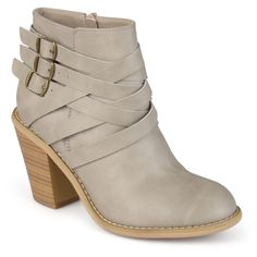 Journee Collection Women's 'Strap' Multi Strap Ankle Boots ($60) ❤ liked on