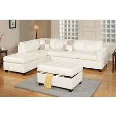 Poundex MODERN SECTIONAL SOFA 3 pc LIVING ROOM SET CREAM BONDED LEATHER SOFA REVERSIBLE LEFT / RIGHT CHAISE WITH STORAGE OTTOMAN #F7354