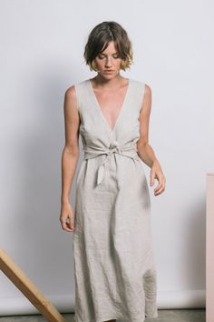Linen dress, natural look waist bow inspiration: Elizabeth Suzann June Dress Looks Style, Style Me, Linen Dresses, Linen Skirt, Inspiration Mode, Slow Fashion, Style Fashion, Dress Me Up, Ideias Fashion