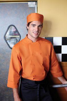 Restaurant Uniform Ideas   Orange Chef Coat and matching Chef Hat from ChefsEmporium.net