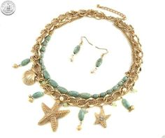 510503 NECKLACE EARRING SET - TURQUOISE & GOLD SEA LIFE