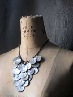 Mykiss Vintage Mother of Pearl Button Cascade Necklace by cloven, $47.00