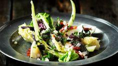 Salads from the Paleo master-chef Thomas  Rode Andersen and his Copenhagen Paleo restaurant; Relais & Châteaux Restaurant Kong Hans Kælder