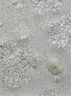 "Sonia King ""Permafrost"" 2009 24"" x 18"" Glass, ceramic, white gold, smalti, quartz, silver, marble, rock crystal, seashell, pearls, aluminum, selenite, abalone, pebbles."