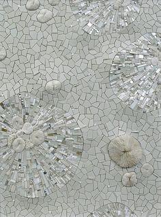 "permafrost ~ sonia king, 2009, 24"" x 18"" ... glass, ceramic, coral, white gold, smalti, quartz, silver, marble, rock crystal, seashell, pearls, aluminum, selenite, abalone, pebbles"